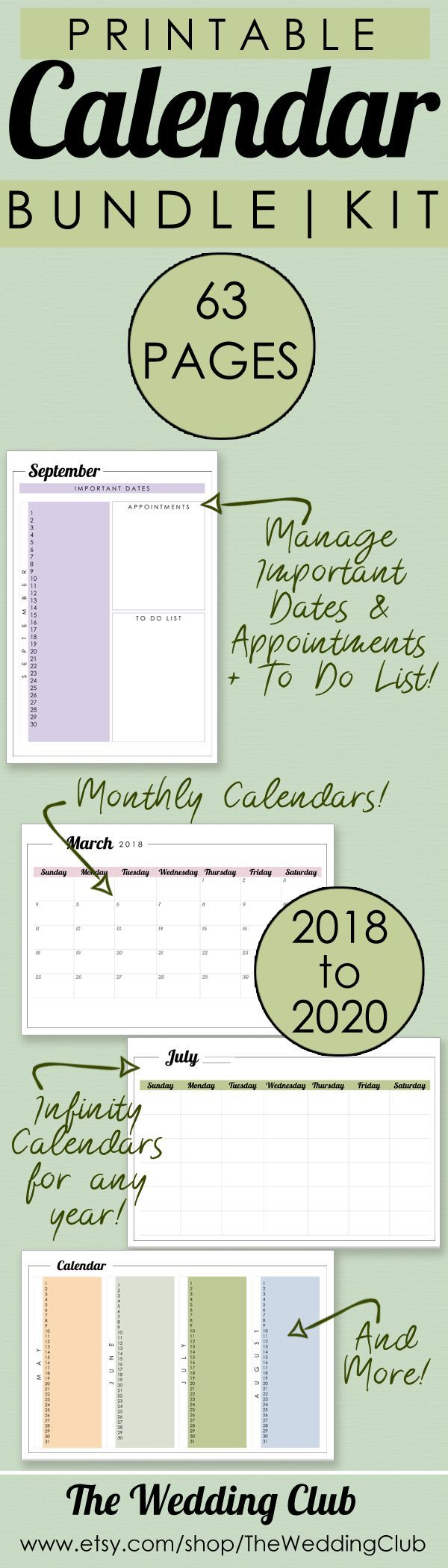 Printable Calendar Bundle Kit - 63 Pages - Plan your year ahead with these fantastic printables! Includes monthly calendars for 2018-2020, infinity calendars for any year, important dates sheets for any month, and a 4-month view calendar. Keywords: Calendar, Printable Planner, 2018, 2019, 2020, yearly planner, monthly planner, printables, calendar printables. #etsy #planner #calendar #2018 #2019 #2020 #planyourfuture