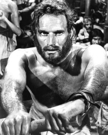 """Charleton Heston - My favorite actor of all time.  Who can forget this scene? """"Row well and live."""" Quintus Arrius from Ben Hur; Other great movies: The Ten Commandments, Planet of the Apes and The Omega Man"""