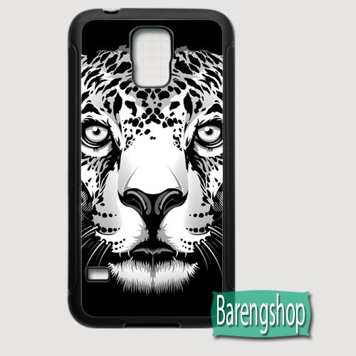 BIG FACE ILLUSTRATED LEOPARD Samsung Galaxy S5 Rubber Case