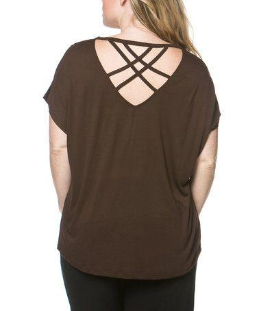 Brown Cross-Back Top - Plus #zulily #zulilyfinds