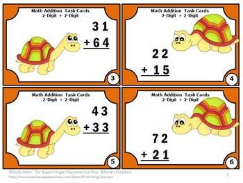 FREE!!! Two Digit Addition Task Cards: Here are six printable addition task cards to practice addition with no regrouping. All problems are two-digit plus two-digit. A student response form and key are also provided.: