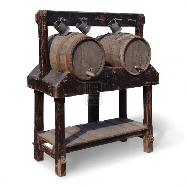 Medieval stand | ... » Medieval » Floorstanding Double Wood Barrel Stand - Keeley Hire