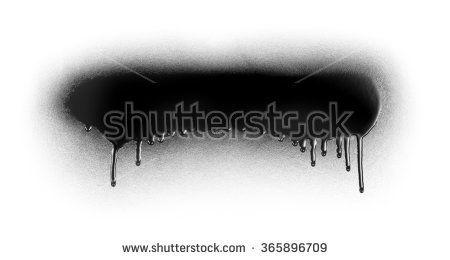 Black color spray paint or graffiti design element on a white background paper