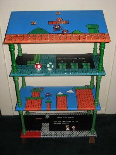 The boys would love this to store their video gamesDiy Videos Games Decor, Gamer Decor Diy, Mario Shelf, Diy Mario Decor, Games Room, Geeky Crafts, Mario Shelves, Mario Nintendo Shelf, Shelf Painting