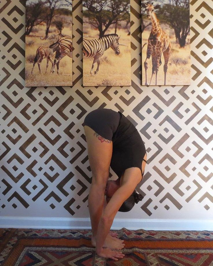 The perfect backdrop for yoga is this stenciled accent wall featuring the African Kuba wall pattern by Kim Myles from Cutting Edge Stencils. http://www.cuttingedgestencils.com/african-kuba-stencil-kim-myles.html