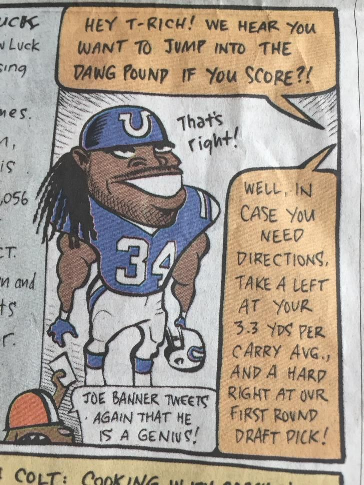 Cartoon in Cleveland Plain Dealer takes shot at ex-Brown Trent Richardson of the Colts before today's game.