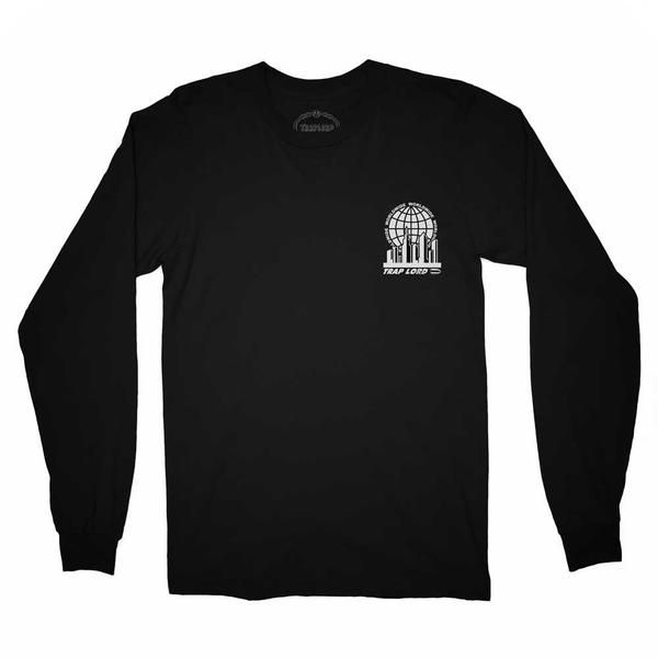 The TL City Long Sleeve T-shirtis a ribbed crewneck with awhite screenprinted city graphic. Official A$AP Ferg Clothing featuring the Traplord Cityscape. Deta