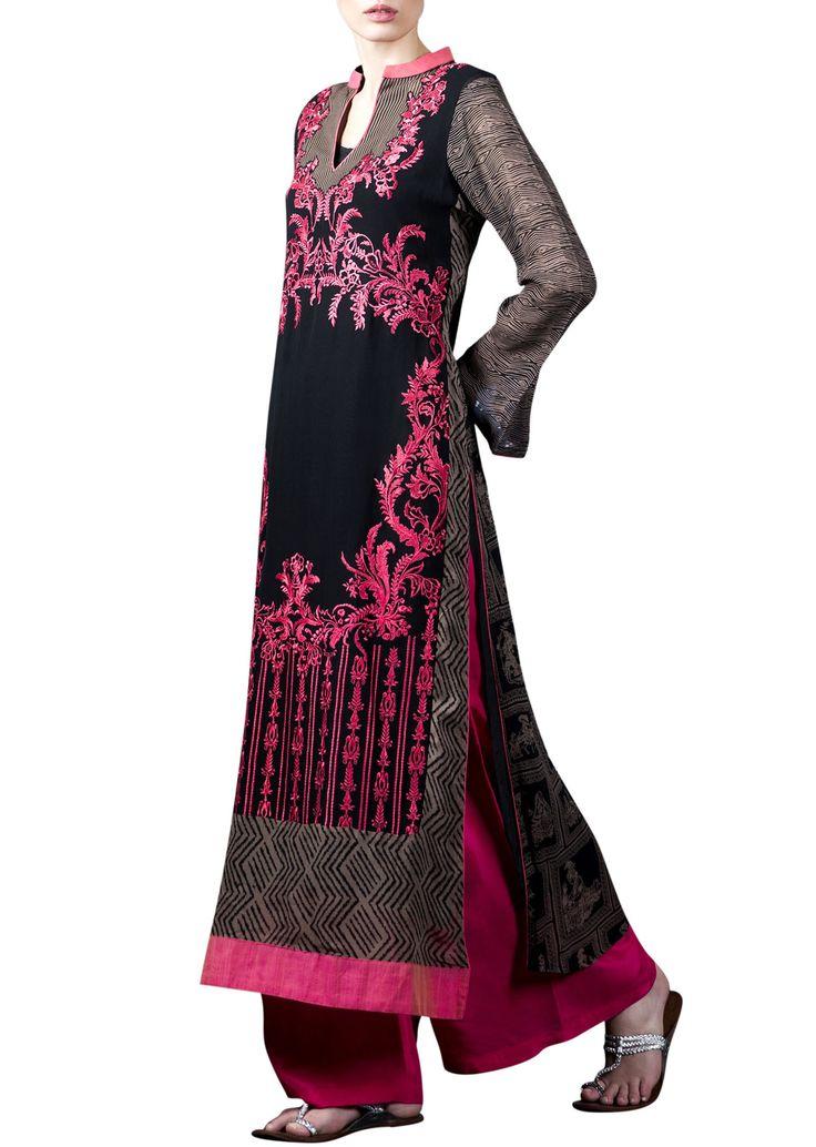 Black kurta with pink palazzo pants