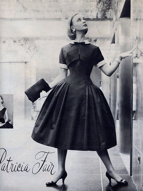 Model wearing a dress by Patricia Fair, 1950s.: Full Skirts, Vintage Fashion, Dress, 1950S Full, 1950 S, Vintage Inspiration, 50 S Fashion, 1950S Fashion, Vintage Style