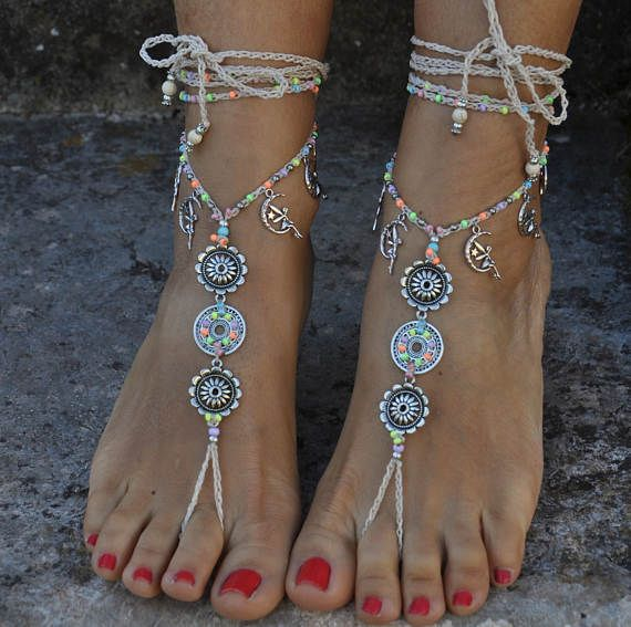 Silver FAIRY Mandala barefoot SANDALS, Neon and Ivory, Foot jewelry, Hippie beach wedding sandals, Toe ring, Anklet, Beaded crochet