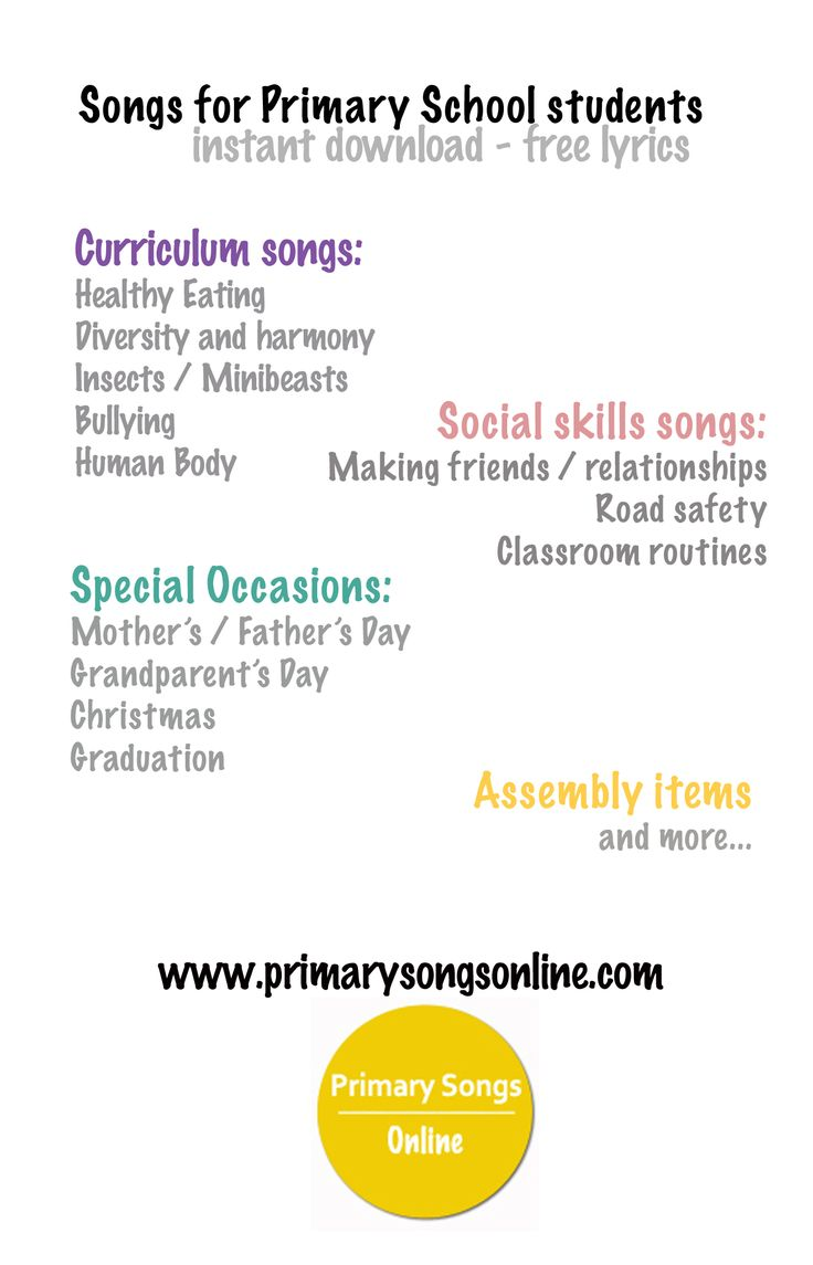 Songs resources for school students including: assembly ideas, social skills songs, just for fun dance and action songs and songs to accompany common curriculum units.