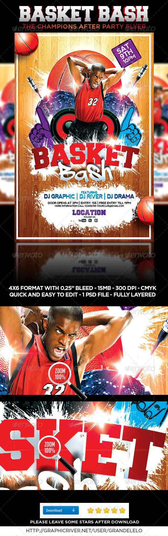 Basketball Bash Flyer  #GraphicRiver         Enjoy grate Basketball, NBA, March Madness, or any Event related to Basket Ball, or sport, this is a Flyer / Poster for your Nightclub or outdoor Party, very colorful, very happy, and very alive and, you can change everything you want, color, style, pictures, typo is no problem. It is well-assorted in folders and layers.   Fonts Links:    Freshman:  .dafont /freshman.font   A Dripping Marker:  .dafont /a-dripping-marker.font  Nevis…