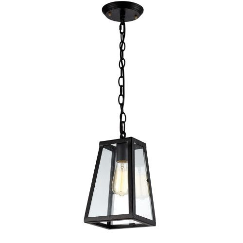 Vintage Inspired Glass Pendant Light With Black Chain