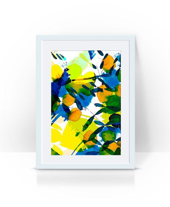 abstract leaves in green and blue  limited by PeachyArtandTreasure