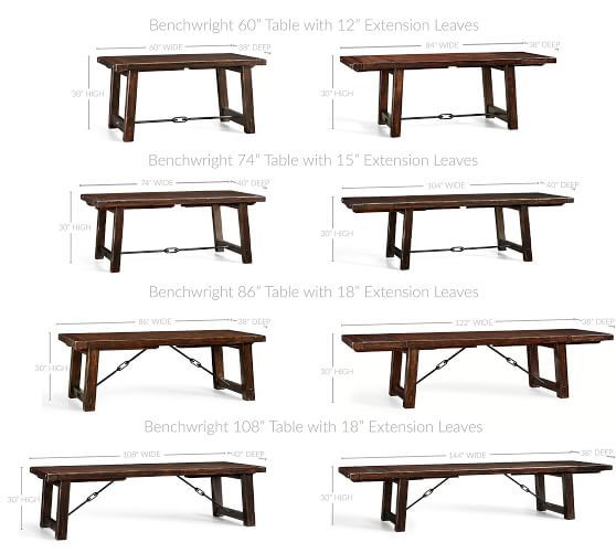 """Benchwright Extending Dining Table, 86 x 42"""" Rustic ..."""
