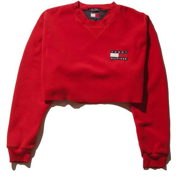Tommy Fleece Crop Top- Medium Perennial Merchants (€33) ❤ liked on Polyvore featuring tops, shirts, sweaters, crop top, red crop top, shirt top, shirt crop top and fleece shirt