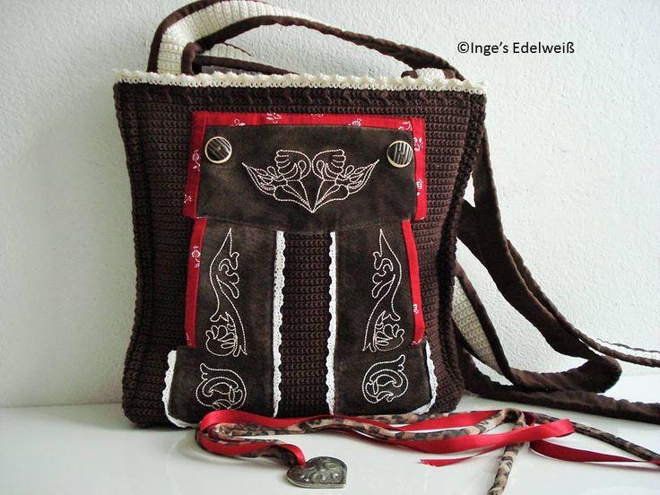 """Meine bayerische Lederhose viel der Schere zum Opfer. Nach meiner Idee entstand hier die etwas andere """"Lederhosen-Trachten-Tasche"""" von www.facebook.com/IngesEdelweiss"""