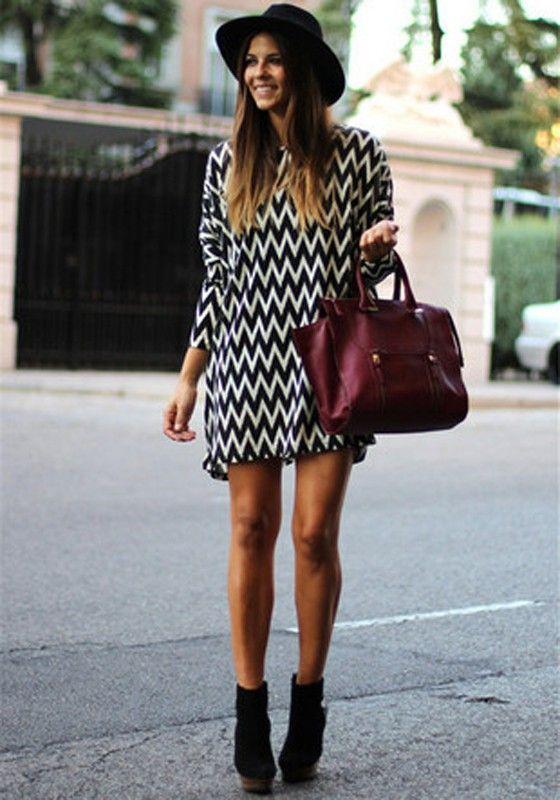 Black Striped Print Casual Loose Chiffon Dress