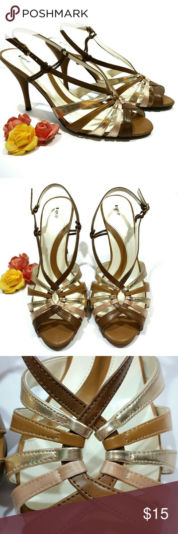 """Apt. 9 multi color heeled sandal These heeled sandals are a size 10. The heel is approx 3"""". The colors are tan, brown, cream, and pewter. Please see last 2 pics for minor flaws: scratch on top of strap, and light stain in the bottom of the shoe. Apt. 9 Shoes Heels"""