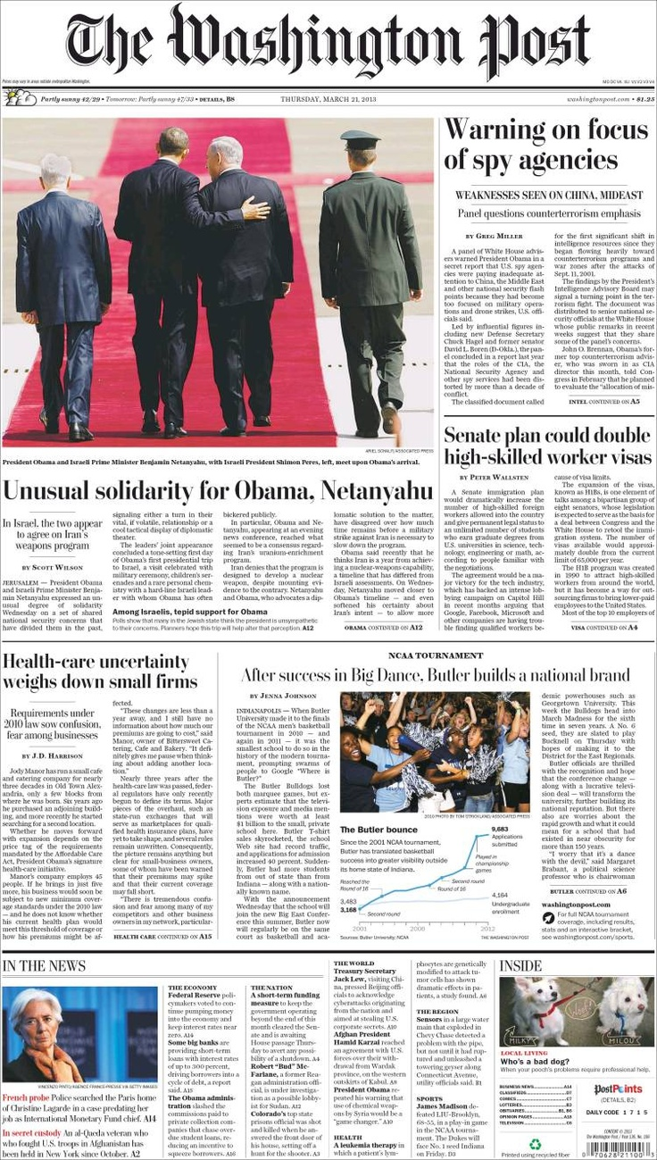 """""""Solidarité inhabituelle entre Obama et Nétanyahou"""" : la une du Washington Post aujourd'hui"""