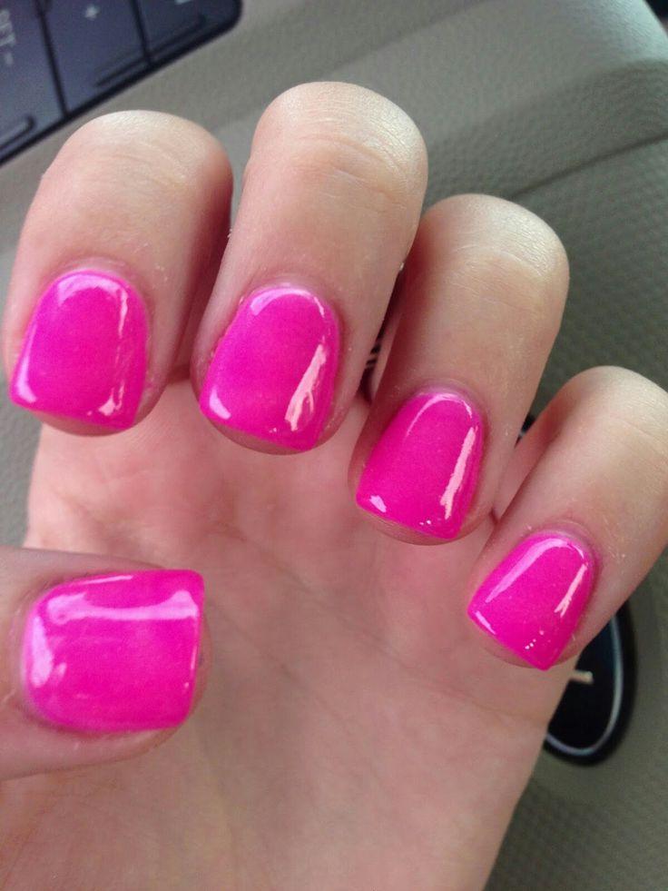 Hot Pink short acrylic nails