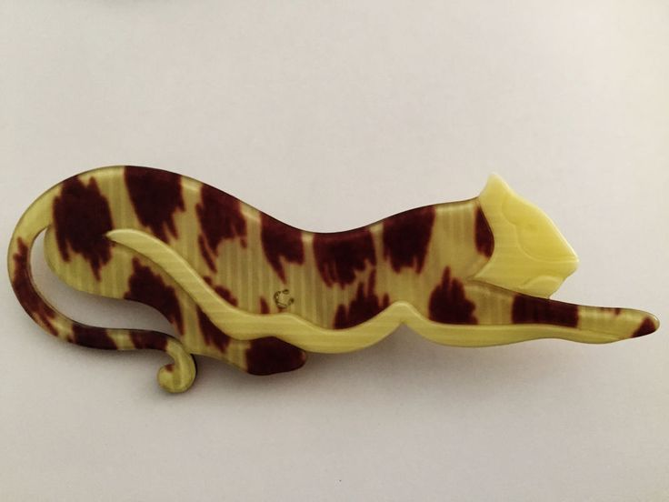 VINTAGE LEA STEIN CROUCHING TIGER CELLULOSE ACETATE PLASTIC BROOCH #LeaStein