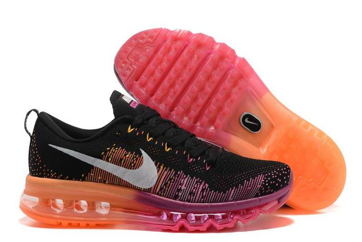 Discount Nike Air Max Flyknit Black Wine Free Shipping - $64.00