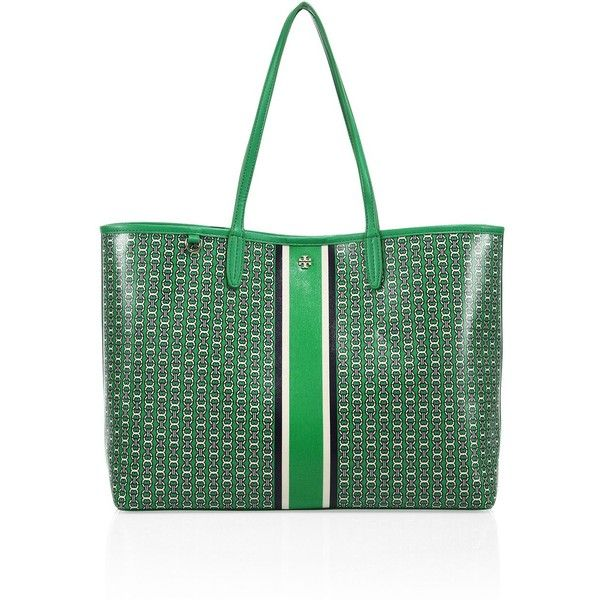 Tory Burch Gemini Link Coated Canvas Tote (1 750 SEK) ❤ liked on Polyvore featuring bags, handbags, tote bags, stripe tote, striped tote, striped tote bag, green tote bag and hand bags