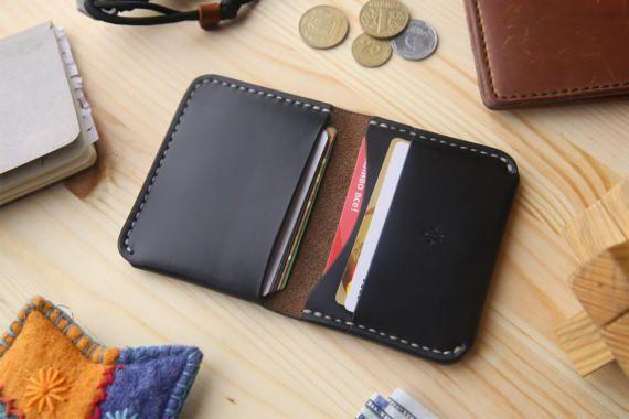 Horween Personalized Mens Leather Wallet, Mens Bifold Wallet with 4 Pockets, Black Chromexcel Leather