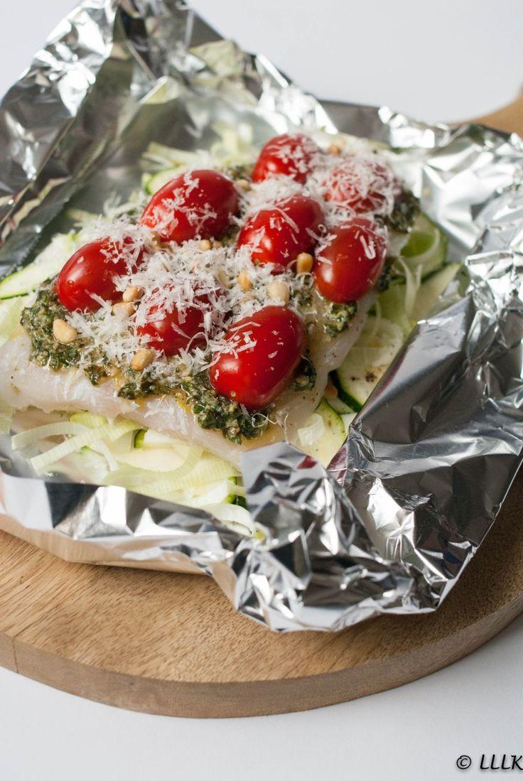 Vispakketjes met pesto uit de oven
