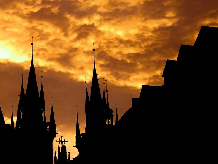 Nature's Beautifully Golden Sky - Church of Our Lady before Týn, Prague, Czech Republic.