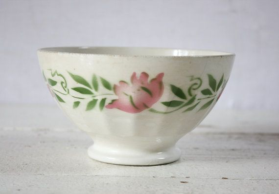 1 vintage FRENCH  BOWL cafe au lait    ROSES by RueDesLouves, $32.00