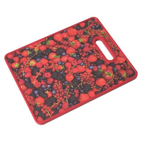 """Farberware 11x14"""" Photo Real Image Cutting Board - All-Over Berries (for fruits)"""