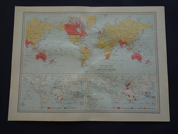 BRITISH EMMPIRE map of the world 1890 original large English