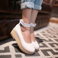 Chic Womens High HEELS Wedge Platform Retro Shoes Fashion Oxfords Pumps Brogues