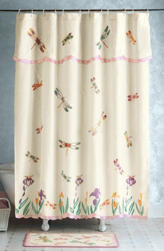 Floral Dragonfly Bathroom Shower Curtain W/ Valance By Collections Etc
