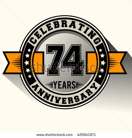 Celebrating 74th anniversary logo, 74 years anniversary sign with ribbon, retro design. - stock vector