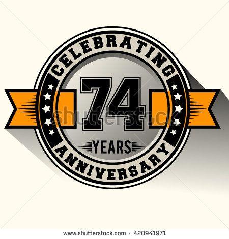 Celebrating 74th anniversary logo, 74 years anniversary sign with ribbon, retro design. - stock vector