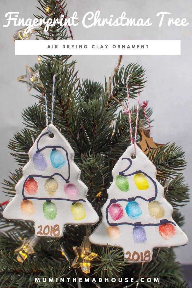 Fingerprint Christmas Tree Ornament Air Drying Clay Christmas Crafts For Kids Christmas Crafts Preschool Christmas