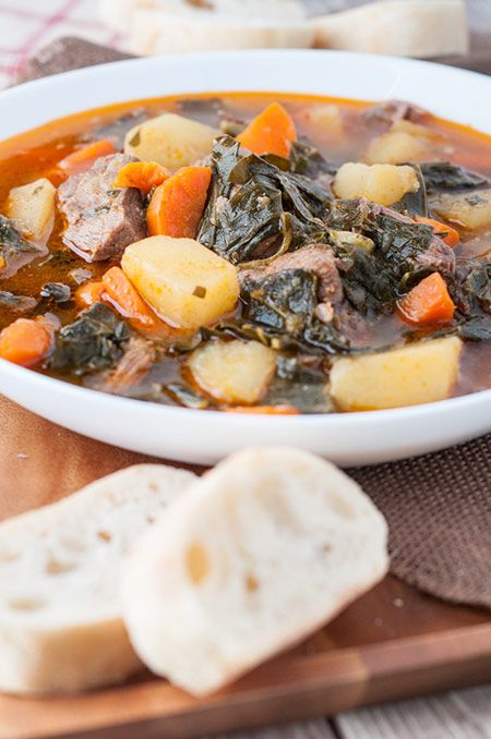 This Portuguese collard greens and beef soup (Sopa de Couve) recipe is real deal comfort food from the Azores, Portugal.