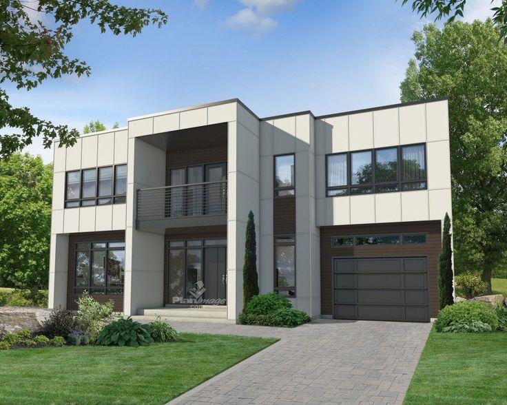 Revêtue d'agrégat et de bois, cette maison à étage à l'architecture contemporaine en impose avec sa façade aux immenses fenêtres et son entrée surmontée d'un petit balcon vitré. Elle mesure 48 pieds de largeur sur 34 pieds de profondeur et dispose d'une surface habitable de 2 216 pieds carrés ainsi que d'un garage simple de 290 pieds carrés. <br/> Le rez-de-chaussée occupe une superficie de 1 070 pieds carrés avec des plafonds de 9 pieds de hauteur sauf dans le salon où ils ont 18...