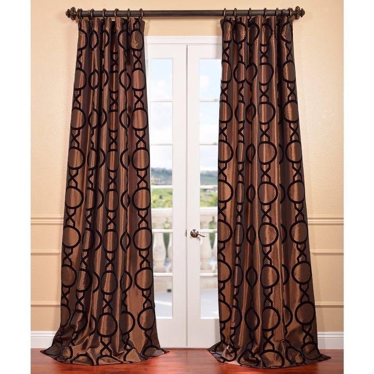 Taurean Copper Flocked Faux Silk Curtain Panel | Overstock.com ...