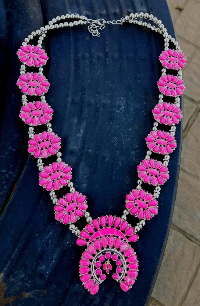 COWGIRL Bling HOT PINK SQUASH BLOSSOM  Western SILVER TONE Gypsy NECKLACE #Unbranded #NECKLACE