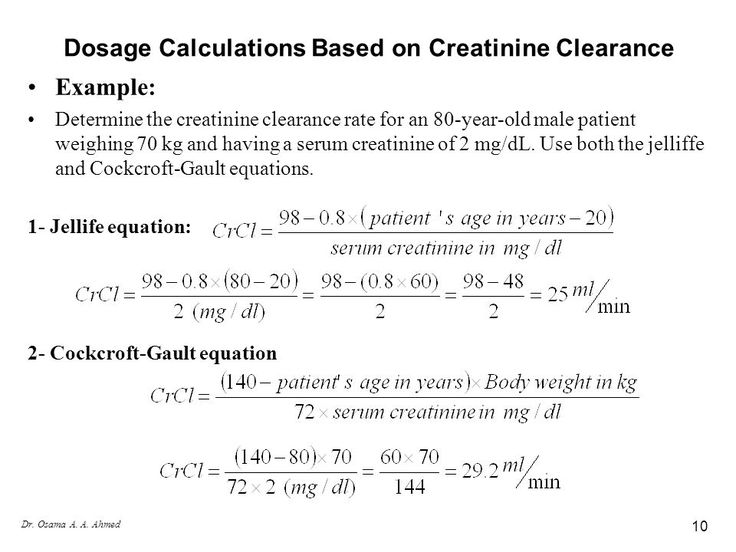 Image result for creatinine clearance calculation example