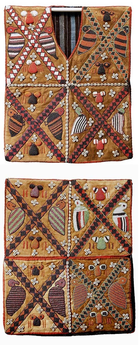 Africa | Vest (front and back) from the Yoruba people of Nigeria. Intricately decorated with glass beads and cowrie shells. | © Tim Hamill