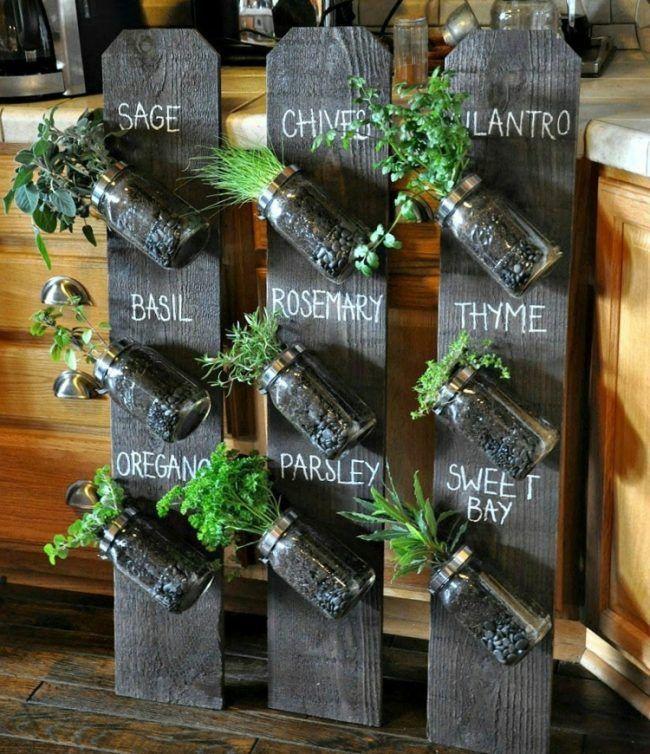 Krauter Kuche Regal Idee Einweckglaser Gewurze H Indoordesign Krauter Kuche Regalideeeinwe Mason Jar Herb Garden Mason Jar Garden Vertical Herb Garden