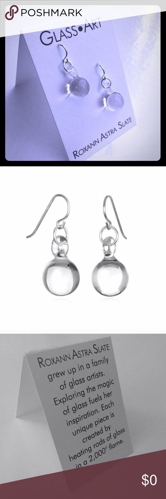 Glass Art Sterling Silver Ball Drop Earrings Simply gorgeous handmade Glass Single Ball Drop Earrings made in Brooklyn, NY USA!                 Material: Borosilicate Glass & Sterling Silver Roxann Slate Jewelry Earrings