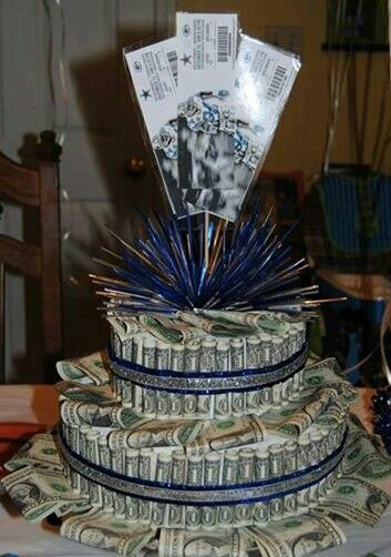 Money cake and NFL tickets for my son's 13th birthday :)