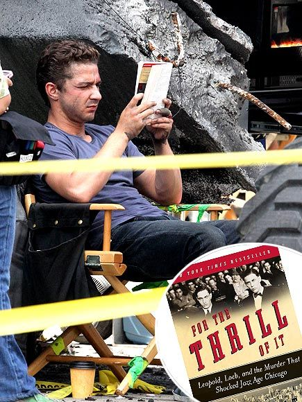 Shia LaBouf reads on set. For more book fun, follow us at www.facebook.com/booktasticfun