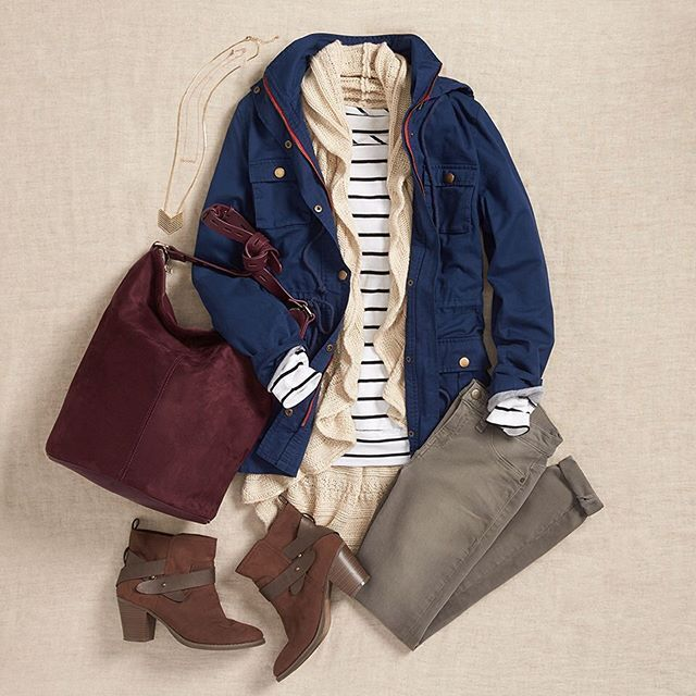 Layering tip! Add a waterfall cardigan (or other airy knit) under a cargo jacket for utility & femininity. #StylistTip